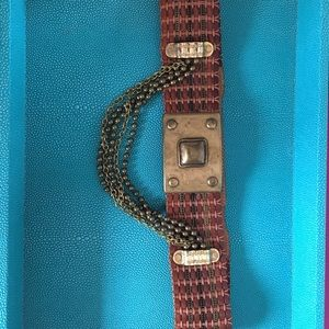 Vintage genuine leather and metal belt